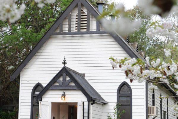 Chapel framed in blossom