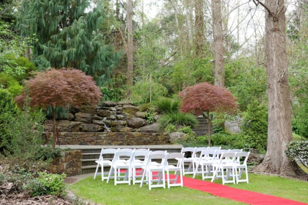 Waterfall garden ceremony