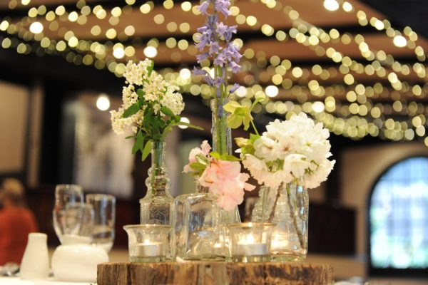 Natural cottage style centrepieces