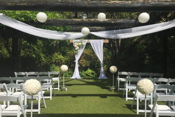 Pergola ceremony set up